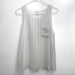 Joie nicholette white gray striped silk tank 83B1